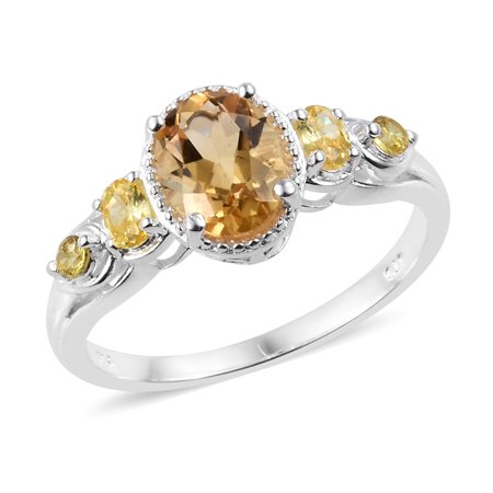 925 Sterling Silver Oval Citrine Cubic Zirconia Yellow CZ Statement Ring for Women Cttw 2