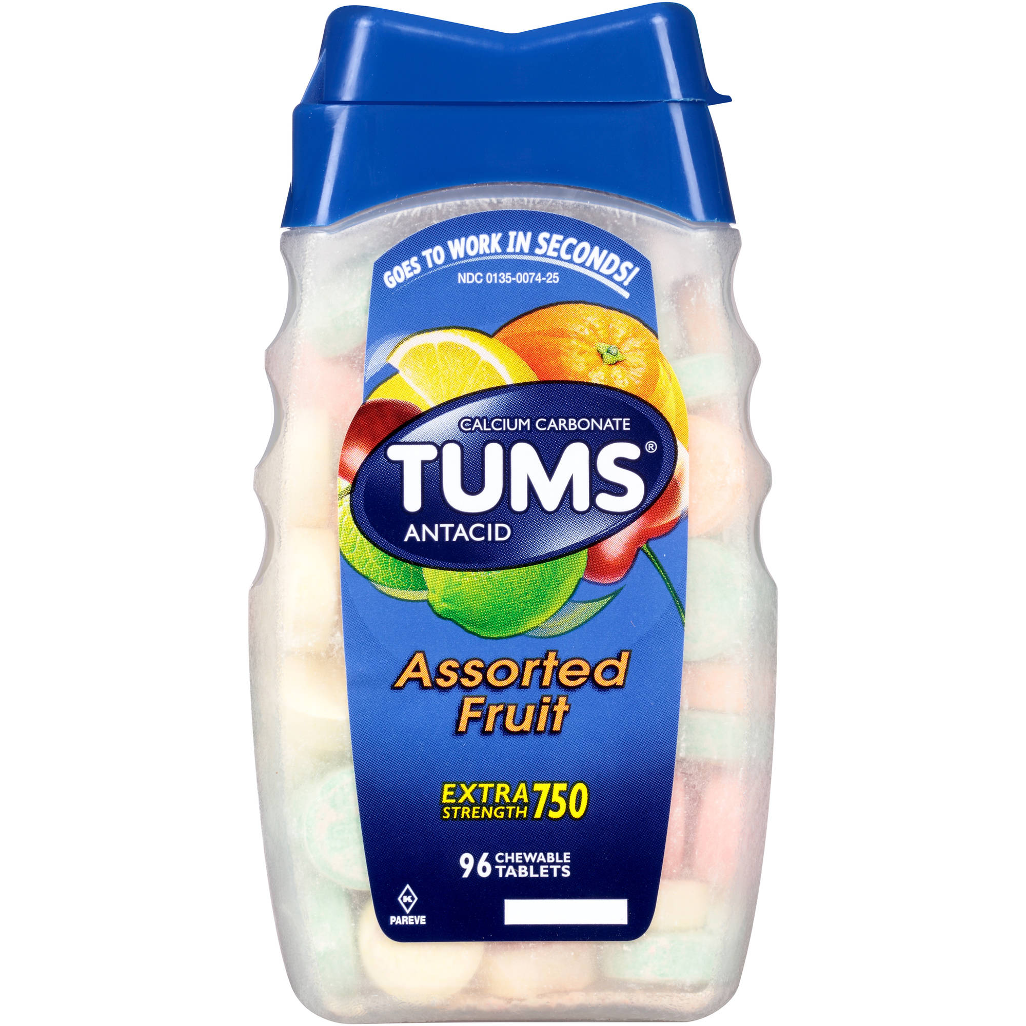 TUMS Antacid Extra Strength 750 Assorted Fruit Chewable Tablets, 96 Count