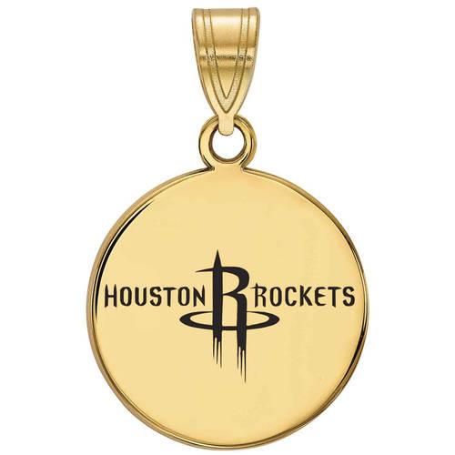 LogoArt NBA Houston Rockets 14kt Gold-Plated Sterling Silver Medium Enameled Disc Pendant