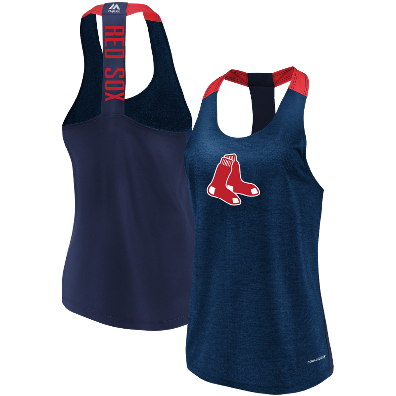 Boston Red Sox Majestic Women's Desire More Cool Base Tank Top Heathered Navy by MAJESTIC LSG