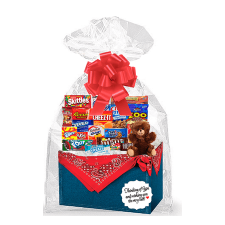 Red Bandana Thinking Of You Cookies, Candy & More Care Package Snack Gift Box Bundle Set - Arrives in 3-4Business Days