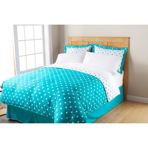 Mainstays Ms Dot Bnb Microfbr Turquoise Cove Twin