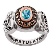 Personalized Women's Celebrium 2-Tone Gold or Rose Gold Sweetheart Birthstone Class Ring