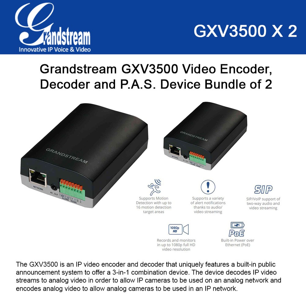 Grandstream GXV3500 2-UNITS 3-in-1 IP Video Encoder, Decoder, PAS, PoE