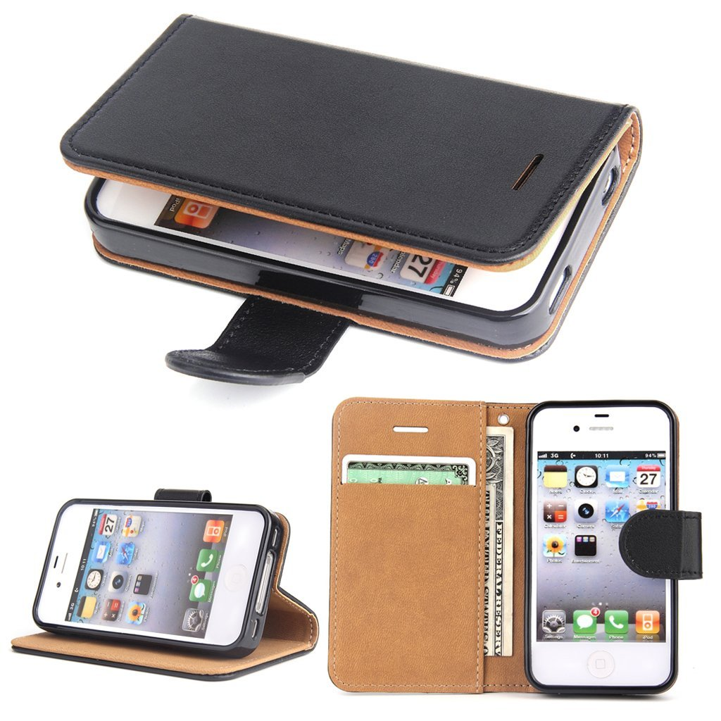 iPhone 4S Case - iPhone 4 Leather Wallet Case Slim Flip Case, Shockproof Protective Phone Cover for Apple iPhone 4S/4 (Black)