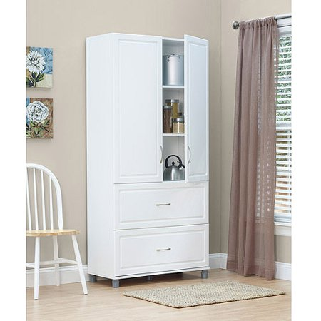 Systembuild 36  2 Door 2 Drawer Storage Cabinet  White Stipple
