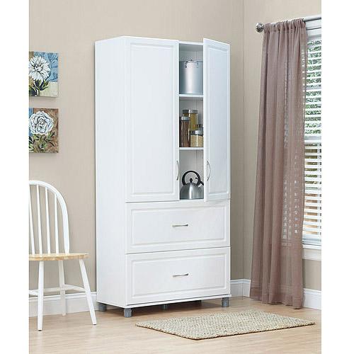 """SystemBuild 36"""" 2 Door/2 Drawer Storage Cabinet, White Stipple"""
