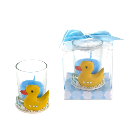 Rubber Duck Poly Resin Candle Set in Gift Box - Blue Baby Shower Case of 48