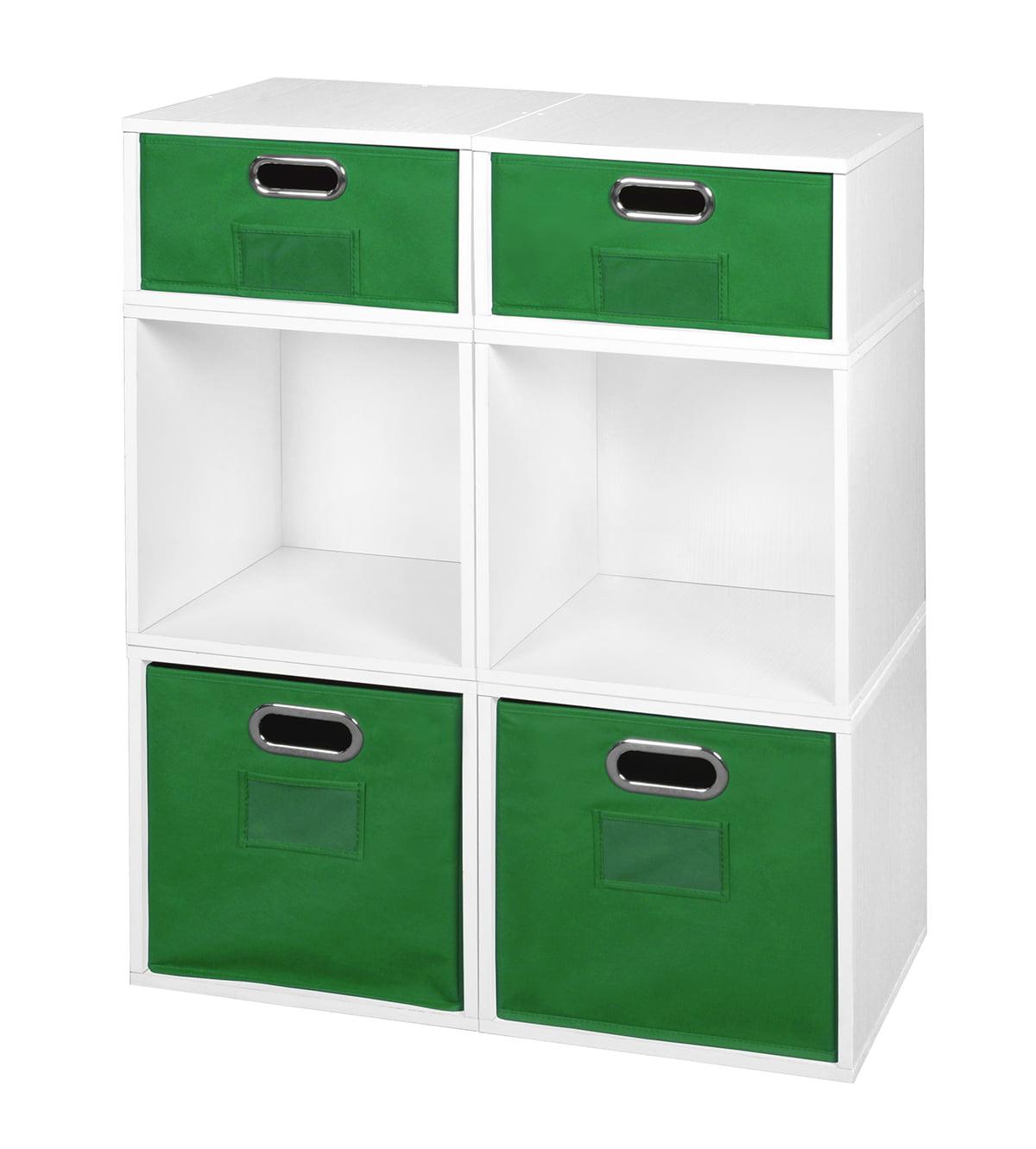 Niche Cubo Storage Set- 4 Full Cubes/2 Half Cubes with Foldable Storage Bins- White Wood Grain/Green