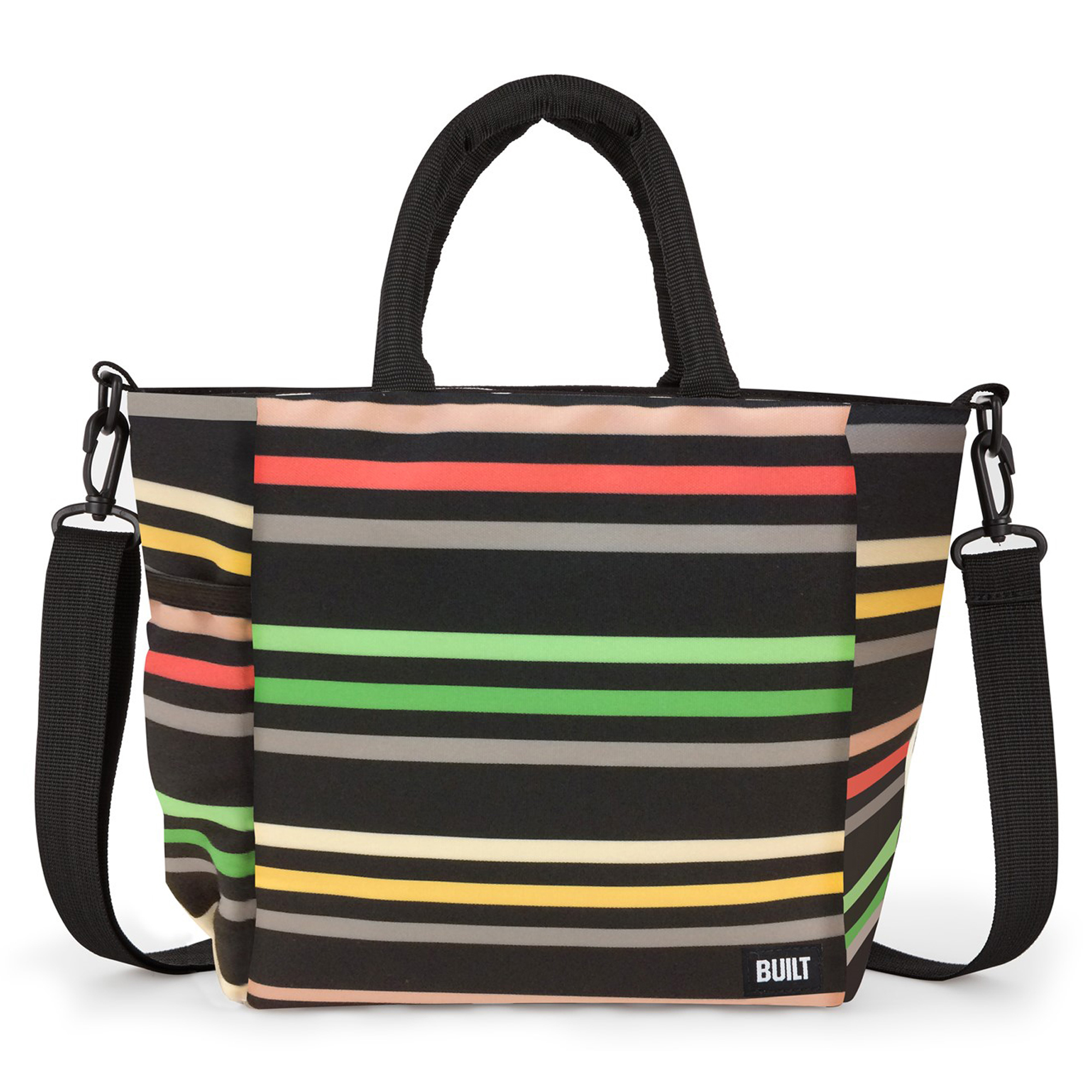 Built NY I Love Lunch Black Multi-Colored Striped Lunch Tote