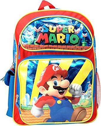 """16"""" Large Backpack, Double zippered mainWalmartpartment. By super mario"""