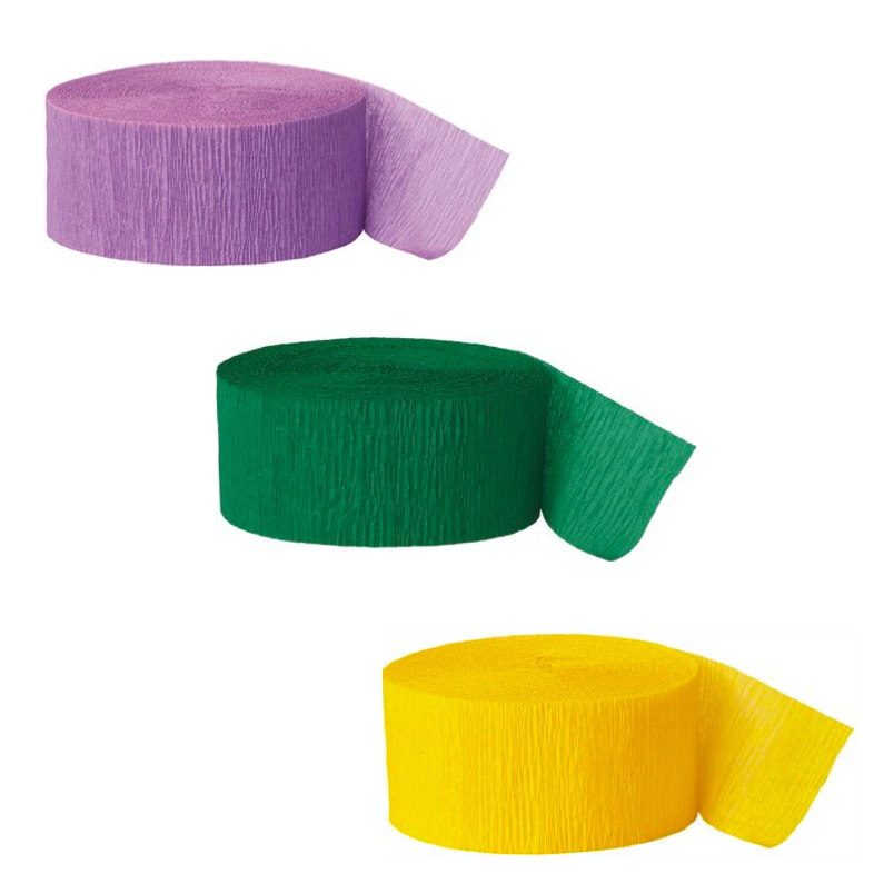 Purple, Green, and Yellow Crepe Paper Streamers, 81ft, 3ct