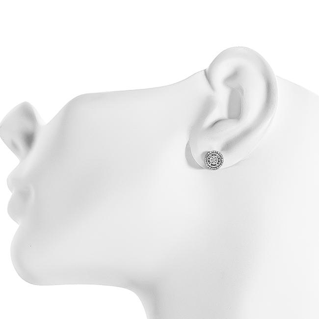 Netaya 1 10 Carat Natural Diamond Halo Stud Earrings In Sterling Silver