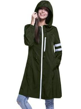 Fancyleo Women's Lightweight Packable Active Outdoor Rain Jacket Hooded Waterproof Breathable Raincoat Army Green L