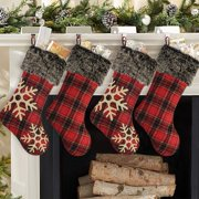 "Peroptimist 4 PCS Christmas Stockings 18"" Large Red Burlap with Plaid Snowflake Plush Faux Fur Cuff Stockings Gift Holders Bags Xmas Tree Fireplace Decorations for Whole Family Xmas Party"