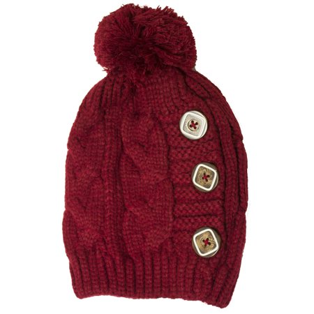 d3d8e11626e54 Newbee - Newbee Fashion - Women Winter Faux Fur Pom Pom Beanie Hat with  Button Thick Skull Ski Cap Stylish   Warm - Walmart.com