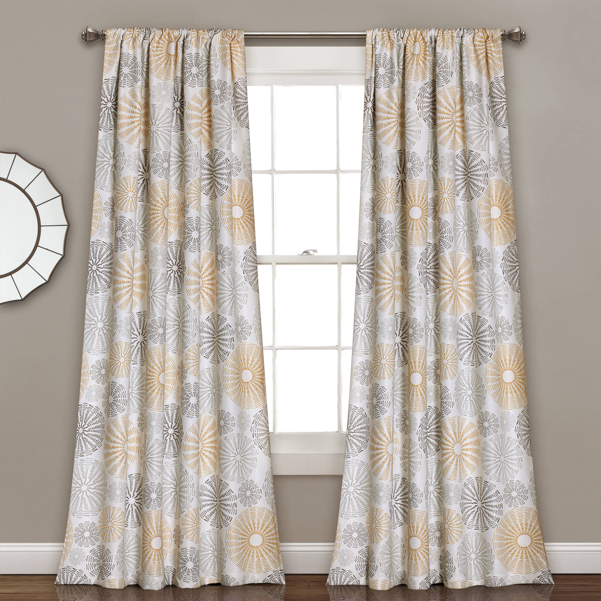 Multi Circles Room Darkening Window Curtain Set, Yellow/Gray