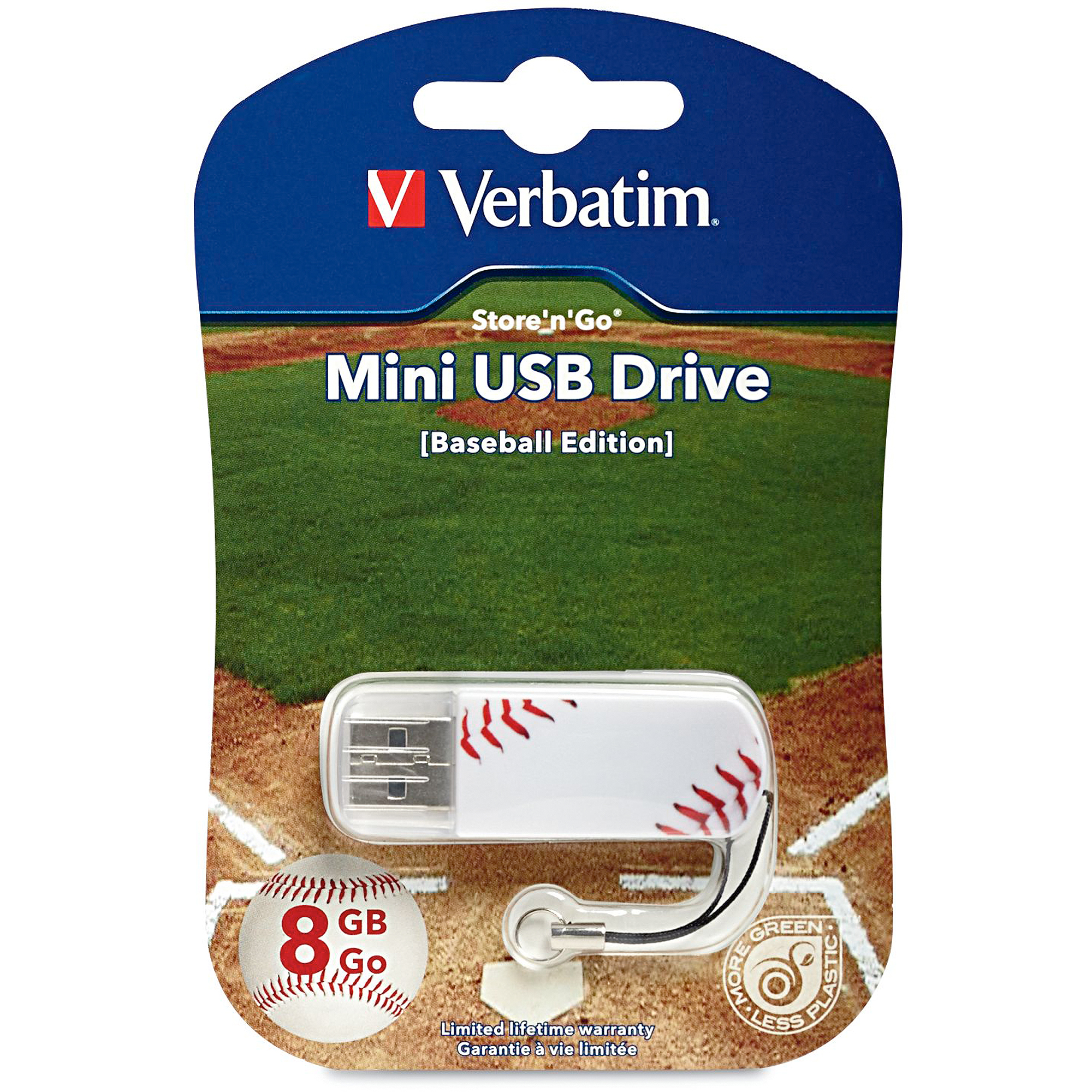 Verbatim 8 GB Store 'n' Go Sports Edition Mini USB Flash Drive, Baseball 98508