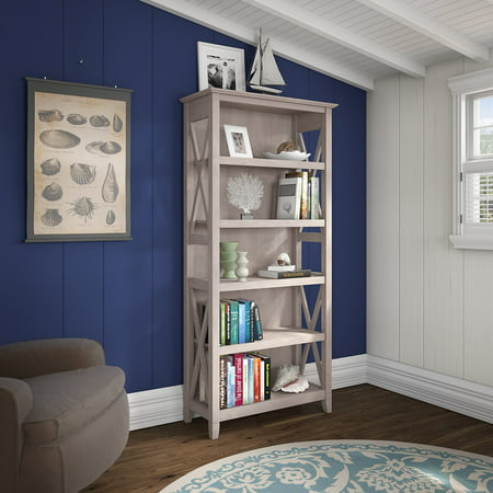 Bush Furniture Key West 5 Shelf Bookcase in Washed Gray ()