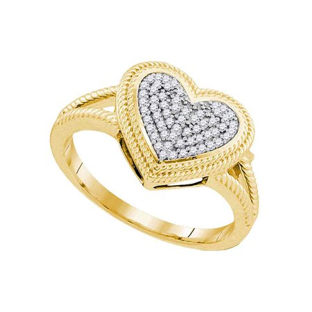 10kt Yellow Gold Womens Round Diamond Rope Heart Love Cluster Ring 1/6 Cttw - image 1 de 1