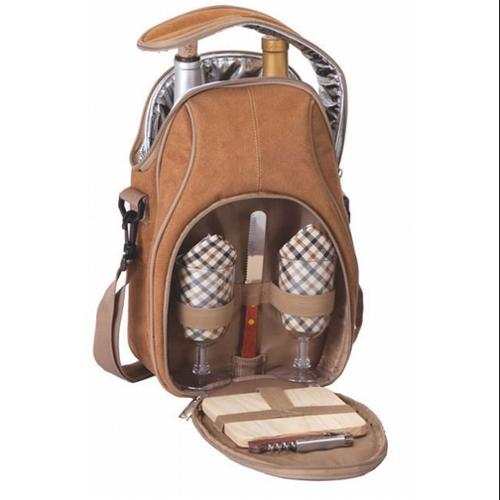 Insulated Romantic Wine and Cheese Picnic Bag Carrier Holds 2 Bottles - Camel