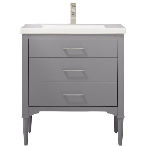 Design Element Mason 30 Single Sink Bathroom Vanity In Stone Gray Walmart Com Walmart Com
