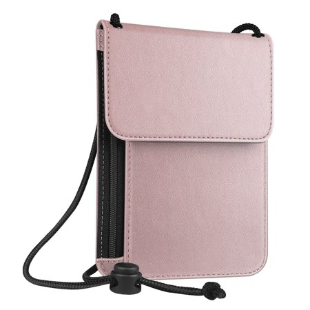 Fintie Passport Holder Neck Pouch [RFID Blocking] Premium PU Leather Travel Wallet, Rose