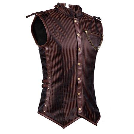 Charmian Men's Spiral Steel Boned Victorian Steampunk Gothic Waistcoat Vest (Steampunk Vest Men)