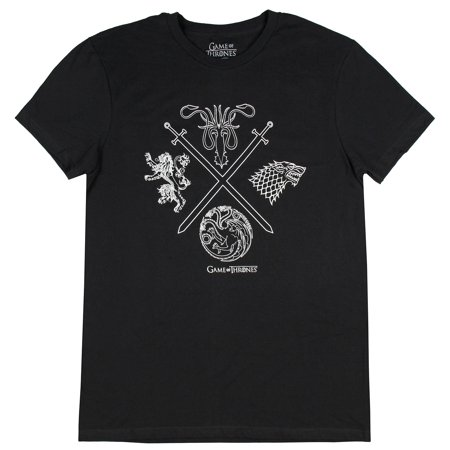 Game of Thrones Shirt Men's Four Houses Crossed Swords Graphic (Game Of Thrones Longclaw Sword For Sale)