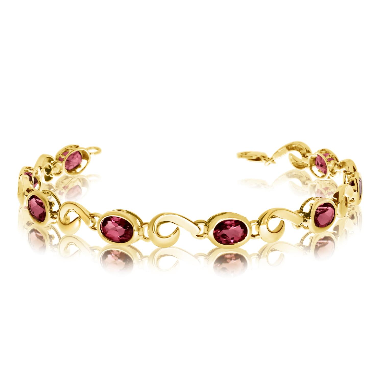 14K Yellow Gold Oval Garnet Bracelet by LCD
