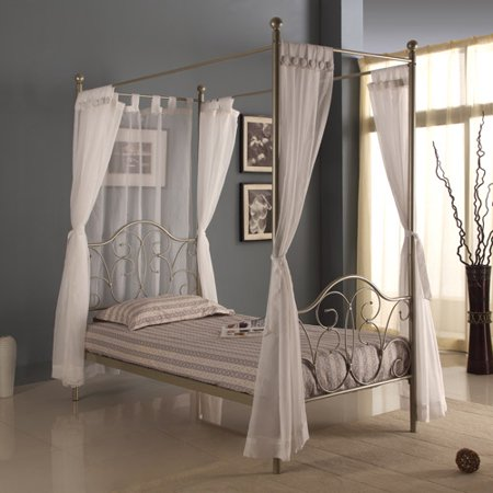 Twin Metal Canopy Bed Pewter With Curtains Box 1 Of 2