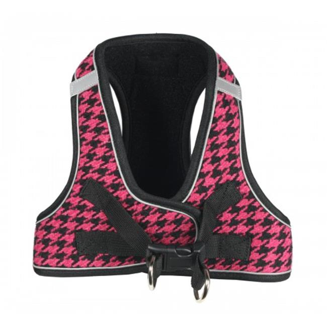 EZ Reflective Houndstooth Dog Harness Vest by Hip Doggie - Pink/Black - Small