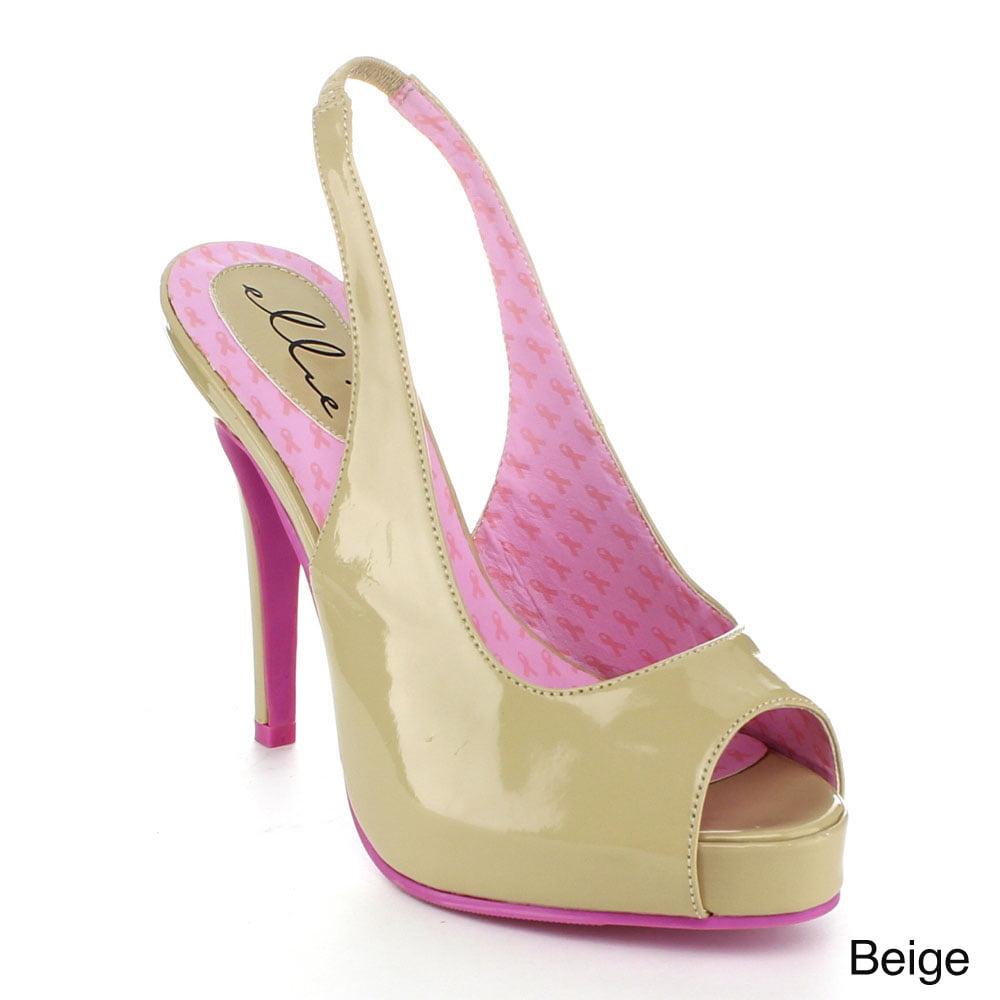 """ELLIE 451-MARYELLEN Women's 4"""" Nude Open Toe Sling Back Platform Pump Sandal"""