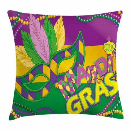 Mardi Gras Throw Pillow Cushion Cover, Colorful Bands with Vivid Beads Feathers Mask and Crown Symbol, Decorative Square Accent Pillow Case, 18 X 18 Inches, Magenta Lime Green Yellow, by Ambesonne - Decorative Brads