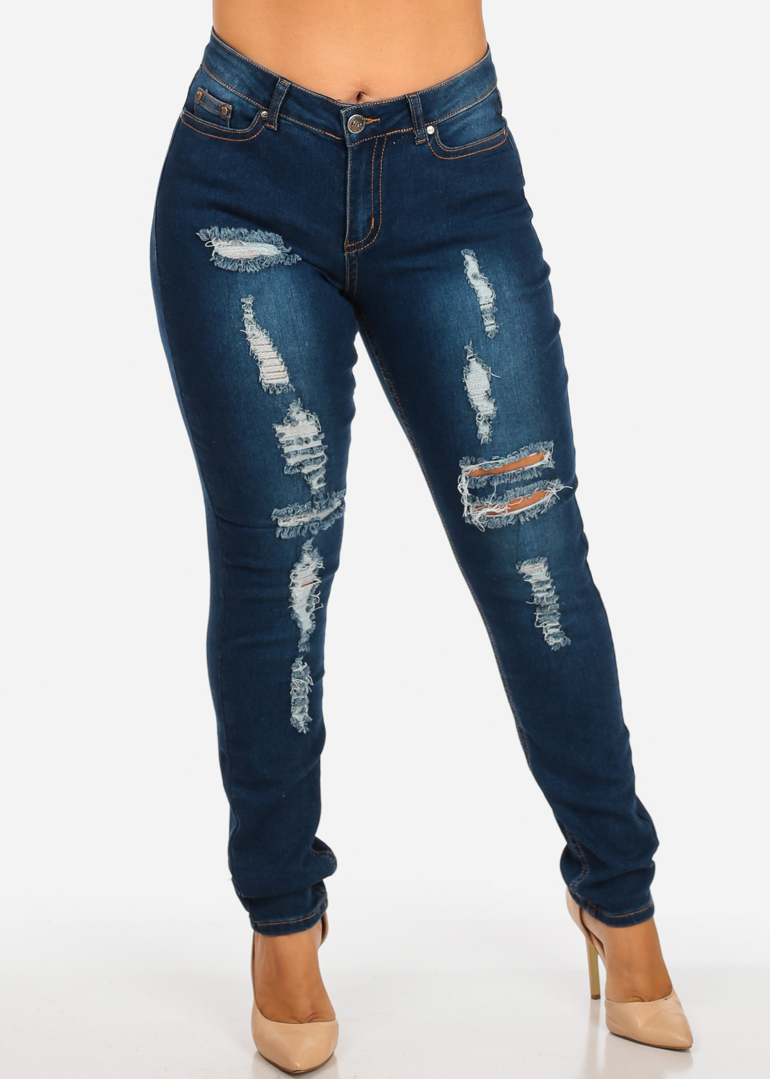 Womens Juniors Plus Size Med Wash Distressed High Rise Skinny Jeans W Orange Stitching 10183R
