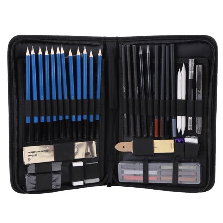 Ashata 48PCS Professional Sketching Drawing Pencils Kit Carry Bag Art Painting Tool Set Student Black , Drawing Set, Sketching Pencils Set (Drawing Pencil Kit)