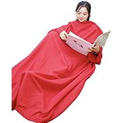 Warmie- Cozy Blanket with Sleeves ( Red)