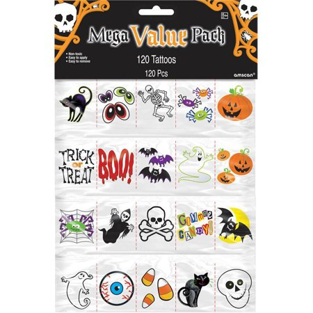 Halloween Tattoos (120 Count) - Party Supplies - Halloween Skeleton Face Paint Ideas