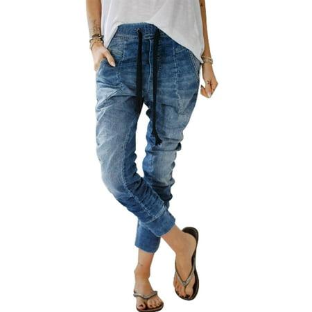 Women Drawstring Elastic Waist Jeans Distressed Ladies Denim Casual Baggy Harem Pants Loose Trousers