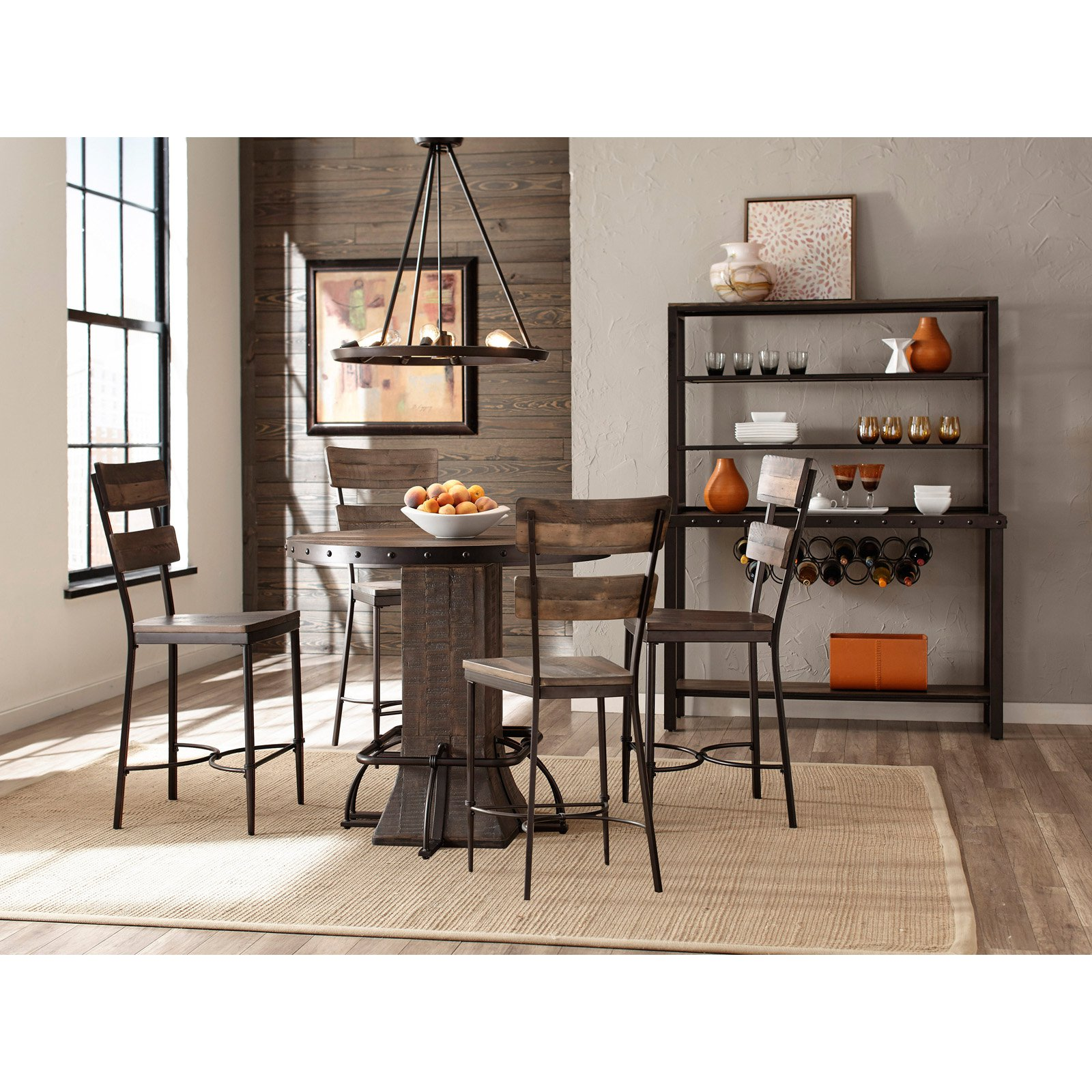 Hillsdale Furniture Jennings 5 Piece Round Counter Height Dining Set With  Non Swivel Counter