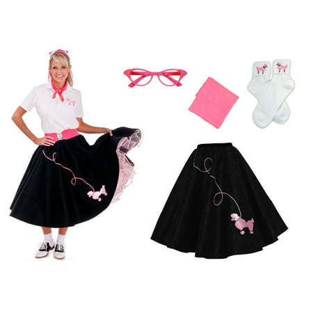 7c39fe2654f8a Adult 4 pc - 50's Poodle Skirt Outfit - Black w/Hot Pink / XLarge -  Walmart.com