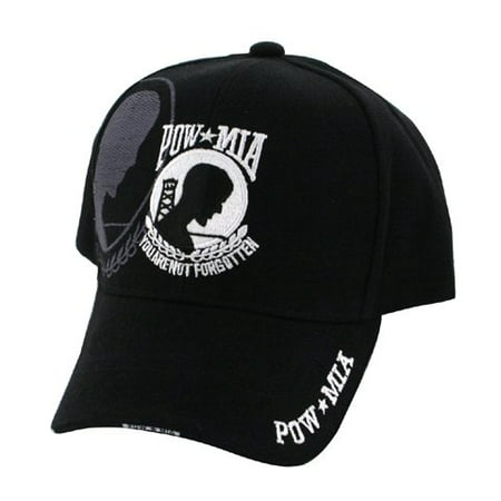 Embroidered Shadow Black Mesh POW MIA Prisoner of War Missing in Action Baseball Style Hat Cap