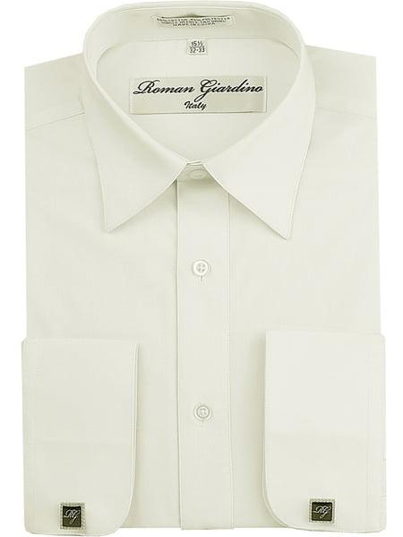 Roman Giardino Men's Regular Fit Long Sleeve Button Dress Shirt Adjustable Cuffs W/ Free CuffLinks