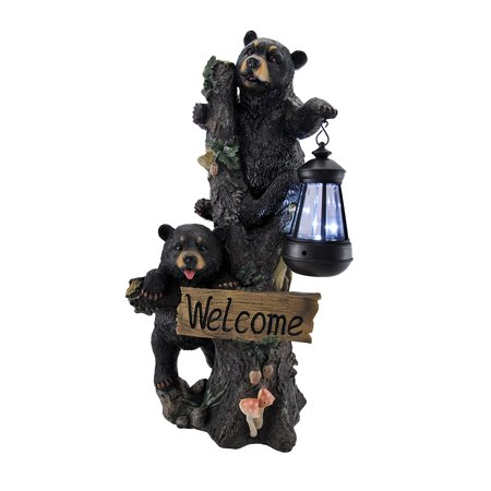 Little Rascals Climbing Bear Cubs Solar Light Welcome Statue
