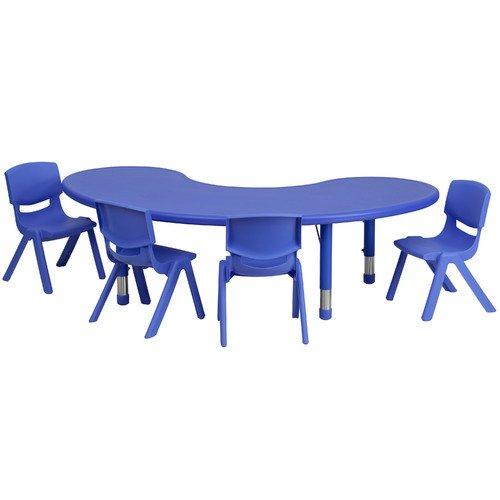 Flash Furniture 35u0027u0027W X 65u0027u0027L Adjustable Half Moon Plastic