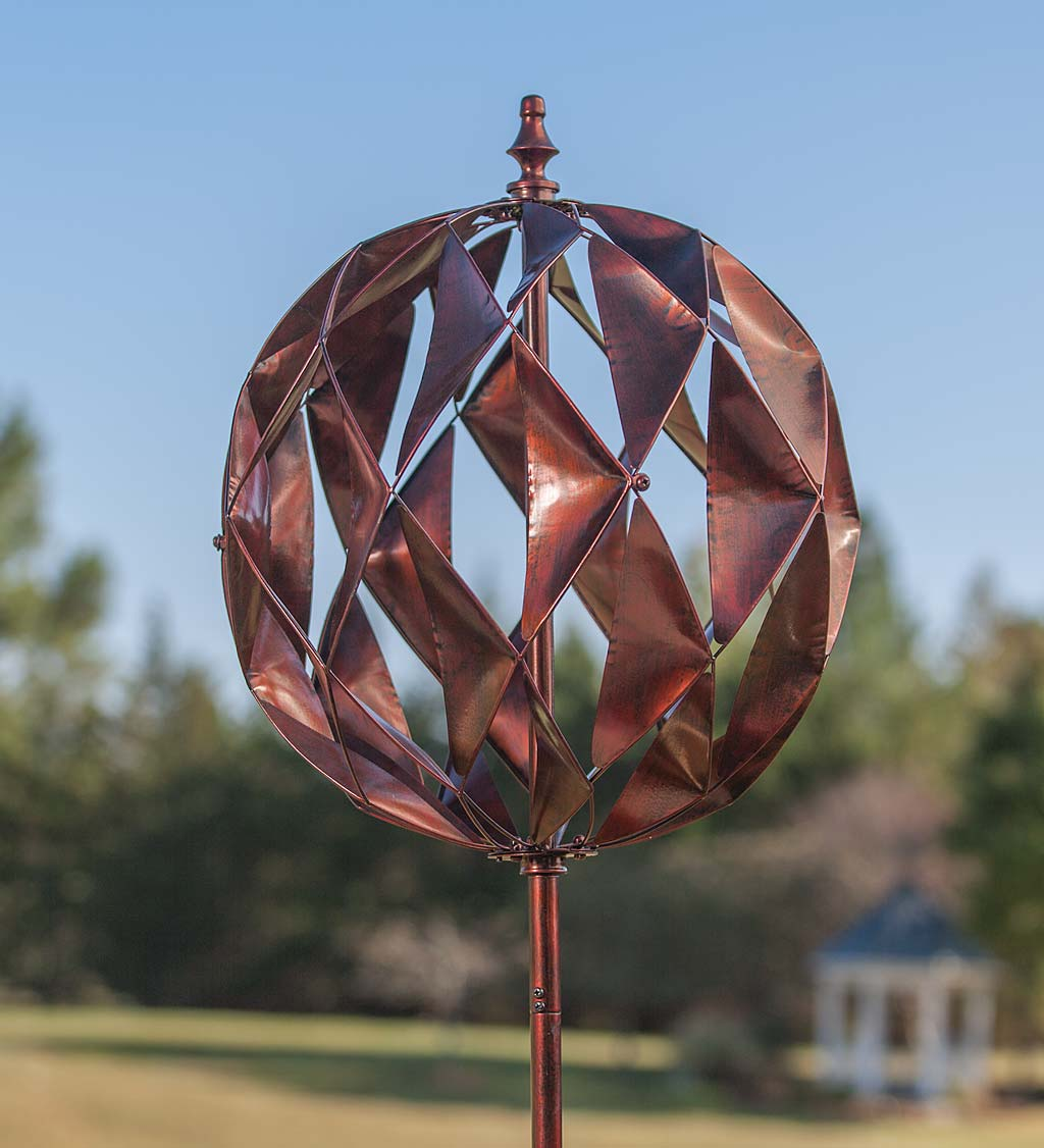 """Harlequin Ball Metal Garden Wind Spinner, 19"""" dia. x 75"""" H by Plow & Hearth"""