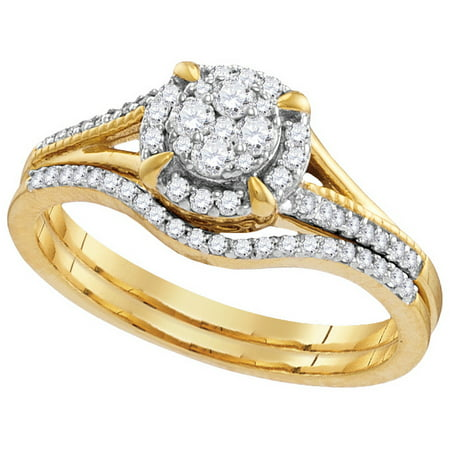 Size - 7 - Solid 10k White and Yellow Two Toned Gold Round Baguette White Diamond Bridal Flower Halo Engagement Ring with Curved Matching Wedding Band (.36 (Gold Tone White Curves)