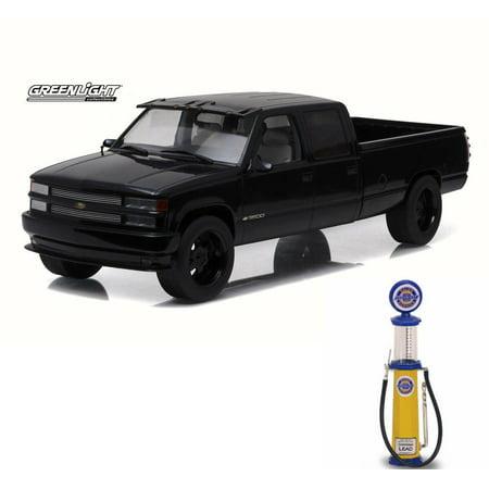 Chevy Diecast Car & Gas Pump Package - 1997 Custom Chevy C-3500 Crew Cab Silverado Pickup Truck, Black - Greenlight 19016 - 1/18 Scale Diecast Model Toy Car w/Gas Pump