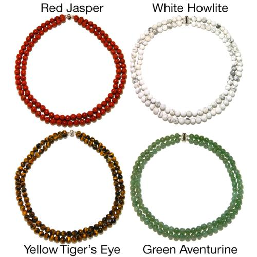 Pearlz Ocean Gemstone Double Strand Beaded Necklace Red Jasper 2-Row Necklace