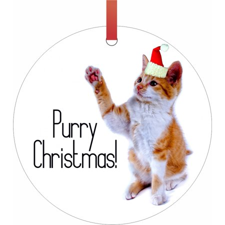 Ornaments with Cats Purry Christmas Kitten in a Santa Claus Hat Double Sided Round Shaped Flat Aluminum Glossy Christmas Ornament Tree Decoration - Cat With Santa Hat